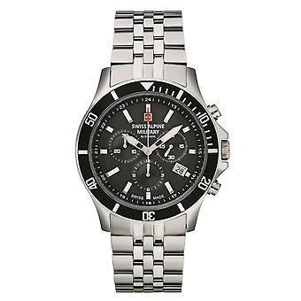 Relógio Militar Alpino Suíço Cronógrafo De Quartzo Analógico 7022.9137SAM Aço Inoxidável