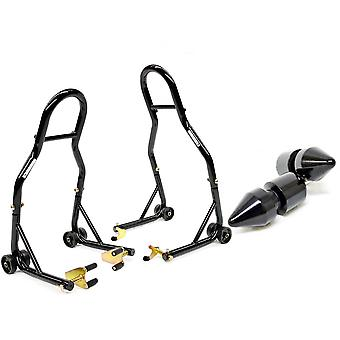 Motorcycle Front+Rear Dual Lift Stand - w/ Spools Compatible with Yamaha FZ6 Fazer 2004-2008