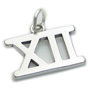 Romersk siffra 12 Sterling Silver Charm .925 X1 Xii Siffror Charms - 4300
