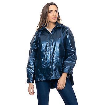 Metalliisk jakke overdimensjonert med elastisk rygg og hette