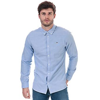 Men's Tommy Hilfiger Stretch Baumwolle Slim Fit Shirt in blau