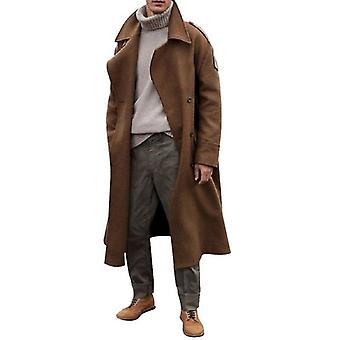 Autumn/winter Solid Windbreaker Jacket Men Coat Fashion Long Trench Coats