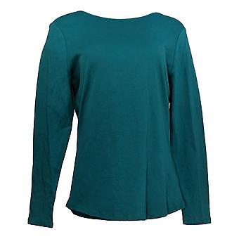 Denim & Co. Women's Top Modern Long Sleeve Knit Green A342526