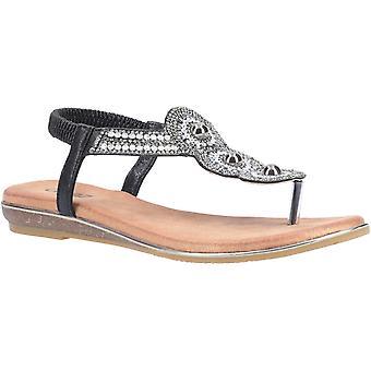 Divaz chandler womens ladies flat sandals black UK Size