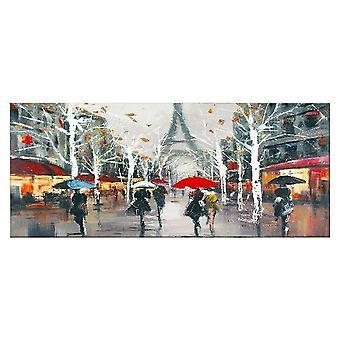Bunte Eiffelturm-Platte aus Polyester, Holz, L70xP3xA100 cm