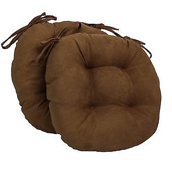 Coussins de chaise touffu rond en daim massif de 16 pouces (ensemble de 2) - chocolat