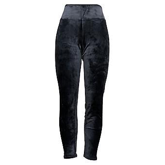 Cuddl Duds Women's Pants Double Plush Velour Leggings Black A293100