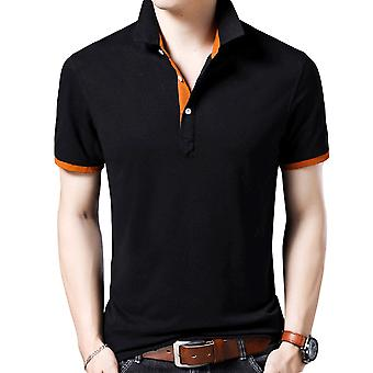Yunyun Men's Casual Solid Color Short-sleeved Polo Lapel T-shirt