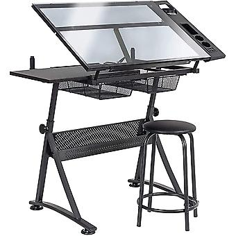 D4P Display4top Tiltable Tabletop Drawing Table Drafting Easel - Includes stool, Multiple storage