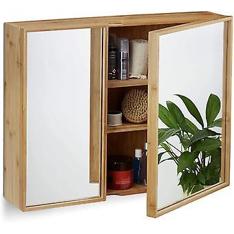 Relaxdays Bad Spiegelschrank 2-trig, Wandschrank aus Bambus, vormontierter Badschrank HxBxT: 50 x 65
