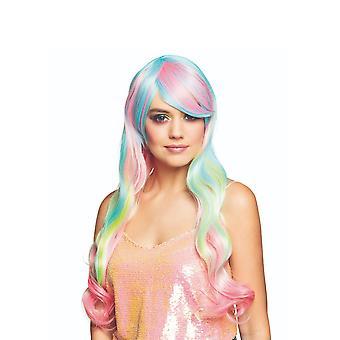 Lange regenboog vrouw pruik pastel