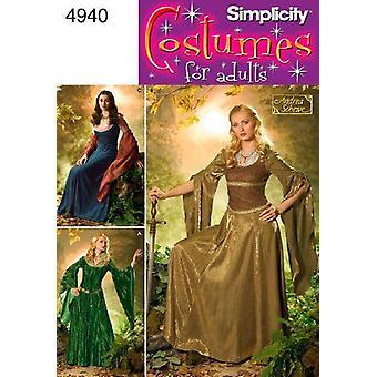דפוס תפירה פשטות 4940 0501 מתגעגע נשים ימי הביניים תלבושות גודל 20-26