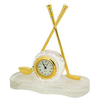 GTP Ladies Miniature Golf CLub & Ball Crystal & Gold Plated Alloy Fittings Novelty Collectors Clock IMP512