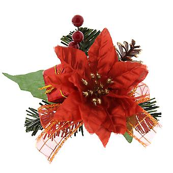 12cm Christmas Pinecone and Poinsettia Pick For Christmas Floristry Crafts