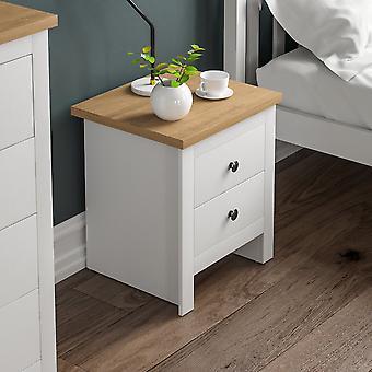 Arlington 2 Drawer Bedside Chest Cabinet Shaker Style, White & Oak