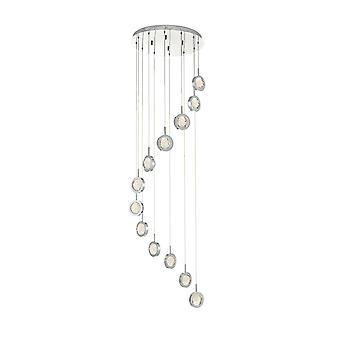 DAR LIVIA Cluster LED Anhänger Licht poliert Chrom & Glaskugeln, 12x LED