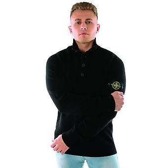 Stone Island 532a3 Button & Zip Up Lambswool Knitted Jumper