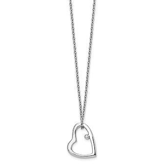 polert hummer klo lukking hvit is .01ct diamant kjærlighet hjerte halskjede 18 tommers smykker gaver til kvinner