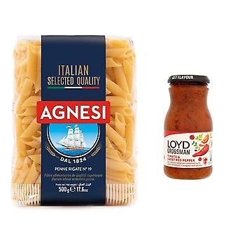 Pasta Kit Met 2 Producten, Zoete Rode Peper Saus, Italiaanse Penne Pasta