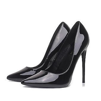 Women, Pumps High Heels, Black Patent, Leather Pointed Toe