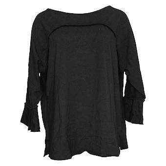 Belle by Kim Gravel Women's Top Ruffle Sleeve Black A355045
