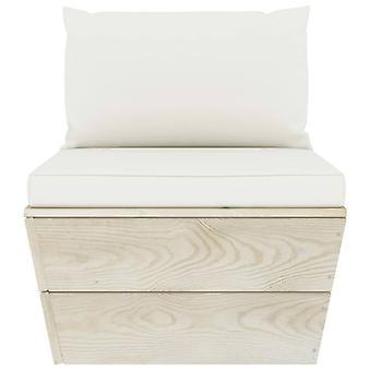 vidaXL Garden Pallet Center Sofá con almohada impregnada de madera de abeto impregnado