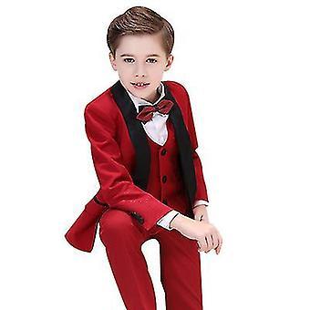 100Cm vermelho meninos coloridos ternos formais 5 peça slim fit dresswear set x2437