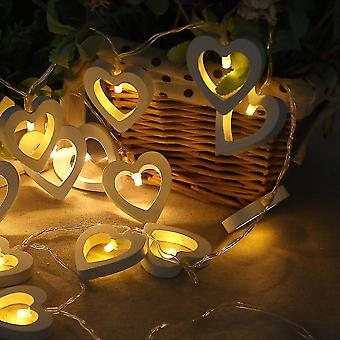 New 10 Led 12m String Heart Shape Lamp Garland Lumiere Wood Decoration Warm White ES7634
