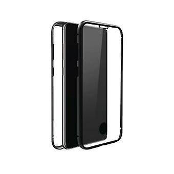 Black Rock 360 Glasfodral kompatibelt med Samsung Galaxy S10 + Magnetisk stängning, TPU, Omslag, Trådlös laddning, Skrapskydd (Transparent med svart ram)