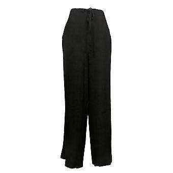 Susan Graver Pantalones de mujer Regular Lino lavado de pierna ancha negro A375933