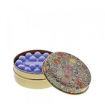 Moniväriset ympyrät laventelisaippualla