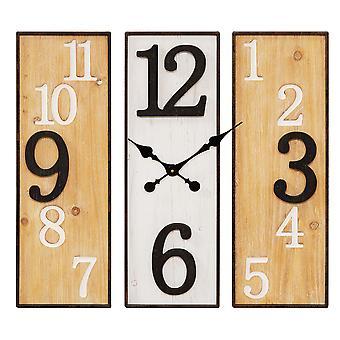 HOMETIME גדול 3 פאנל מתכת & שעון קיר עץ