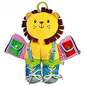 Lion Cartoon 3d Cloth Book Put On Clothes Interactive Fabric Book Yellow