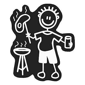 Bil klistermärke familj män grillbord