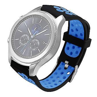 Two-tone siliconen vervangende horlogeband voor Gear S3 Classic / Frontier Black en Blue