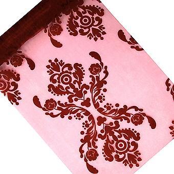 LAST FEW - 36cm x 9m Deep Red Damask Print Tulle Net Roll