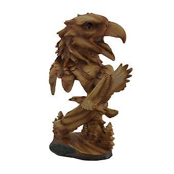 Gesneden hout Look Bald Eagle buste en scène tafelblad standbeeld