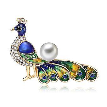 Gyönyörű női bross páva fűző cirkon bross pin
