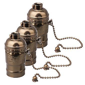 Lâmpadas 3pcs ac110-240v suporte de lâmpada de corrente de alumínio vintage se encaixa em peças de lâmpada e27