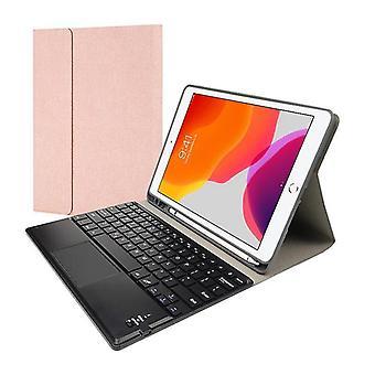Qwert Bluetooth клавиатура кобура для iPad 10.2 Air 10.5 Pro10.5 Беспроводные кожаные клавиатуры (розовый)