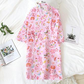 Japanese Kimono Spring And Summer New Style Nightgown Ladies 100% Cott