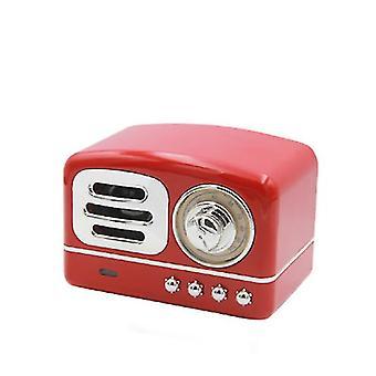 Alto-falante estéreo Bluetooth portátil, alto-falante retrô retro sem fio de graves aprimorado, com slot de cartão TF (Vermelho)