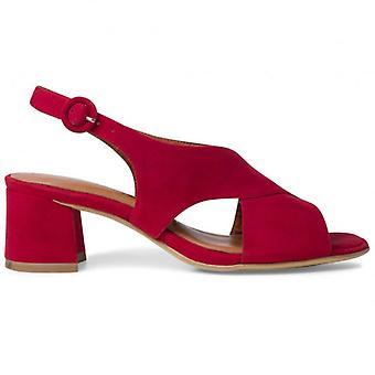 Sandale Tamaris en daim rouge à talon moyen