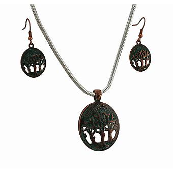 Levensboom Amerikaanse Patina Necklace and Earrings Set