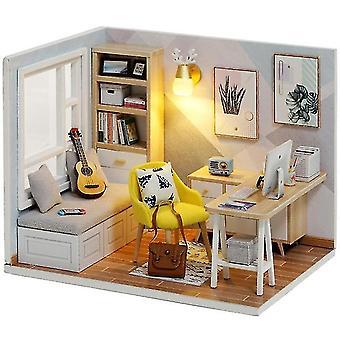 Doll house nábytek diy miniaturní 3d dřevěné miniatury panenky hračky pro děti narozeninové dárky