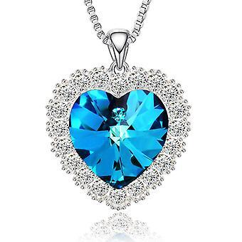 القلب على شكل قلادة قلب المحيط بلورات قلادة المرأة مجوهرات عيد ميلاد عيد الحب هدية