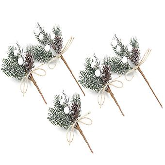 12pcs Artificial Flowers Red Berries Pine Cones For Gift Package, Christmas Decorations
