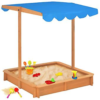 Bac à sable Chunhelife avec toit réglable en bois de sapin bleu UV50