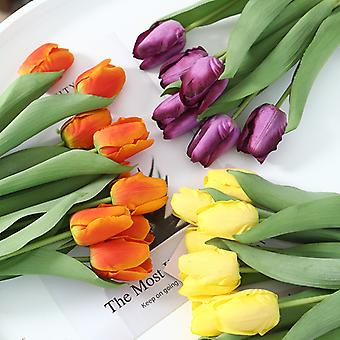 Home Decorations, High-end Simulation Artificial Tulips 6 Packs (orange)