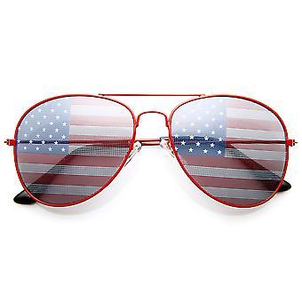 American Flag USA Classic Teardrop Metal Aviator Sunglasses